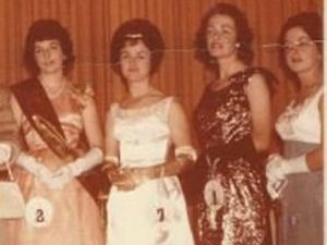 Gwenda Jentz nee Curd second from right in her dress in the Miss Australia Quest in 1962 Photo: Contributed