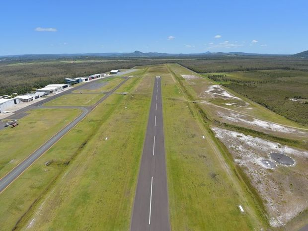 Aerial of the Sunshine Coast Airport at Marcoola looking west down the east-west runway.