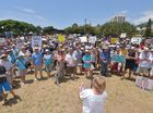 Public protest at Tickle Park, Coolum, oopposing the proposed Sekisui high rise development at Yaroomba. Talks to the gathering. Photo: Brett Wortman / Sunshine Coast Daily
