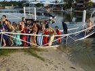 Formal-bound teens collapse bridge during photo shoot