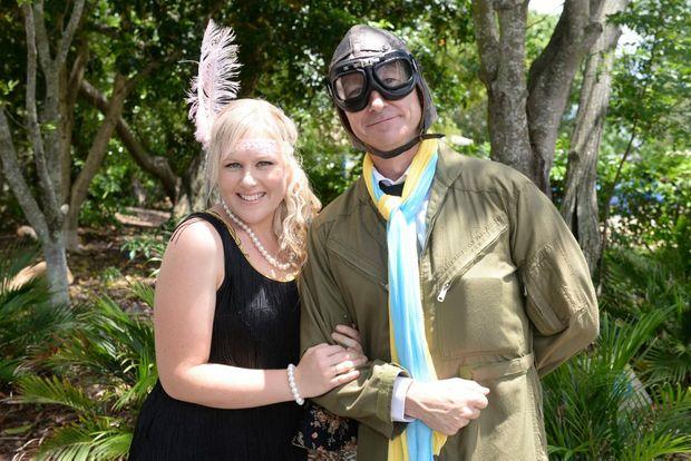 ADVENTUROUS PILOT: Megan Dean and Captain Daring (Paul McCarthy) at the Hinkler Hall of Aviation, Bert Hinkler Birthday celebration. Photo: Paul Donaldson / NewsMail