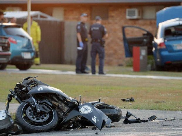 The rider of this motorbike was killed at the intersection of Bridge Rd and Goldsmith St and three people in the Commodore were injured, one seriously.