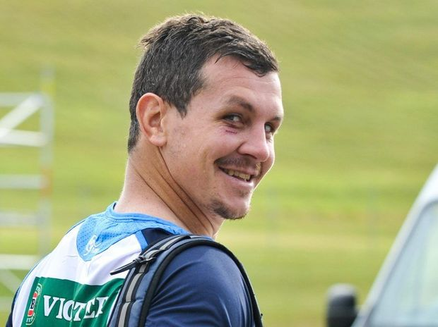 Greg Bird pictured with a black eye during training for the State of Origin this year.