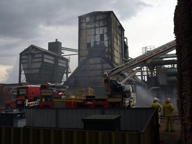 Fire crews battle a blaze at the Carter Holt Harvey sawmill on Henzell Rd on Tuesday, December 9, 2014.