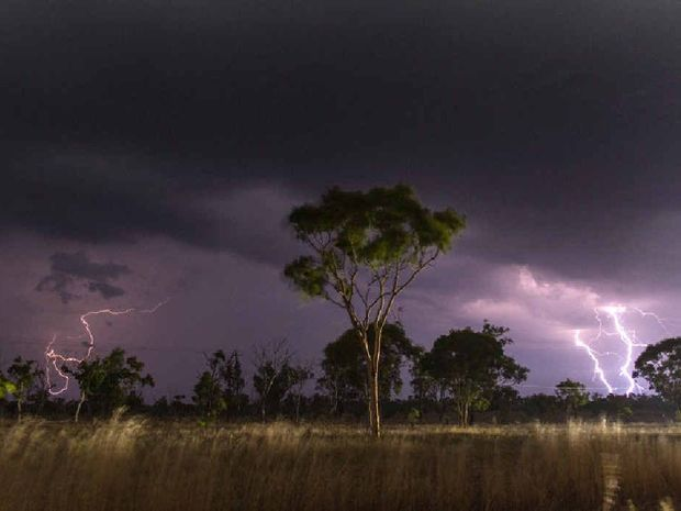 PERFECT STORM: This well-timed shot was caught at Nebo by Amy Taylor, who has been an enthusiastic storm chaser for four years.
