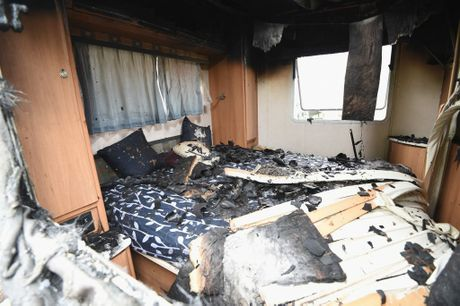 The interior of a caravan that was extensively damaged by fire in Eli Waters.