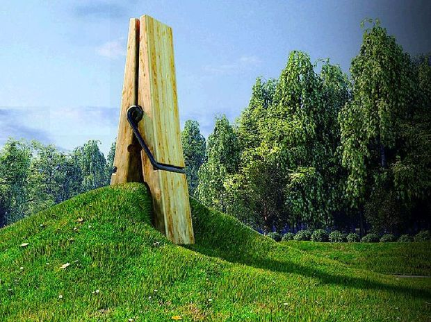 Belgian's giant peg has been used as a potential design idea. The peg, designed by Turkish artist Mehmet Ali Uysal, appears to be holding on tightly to a mould of land and grass and it has attracted the attention and curiosity of hundreds of cyclists and tourists.