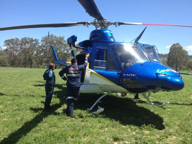 AIRLIFT: A man was transferred to hospital after getting kicked by a cow.