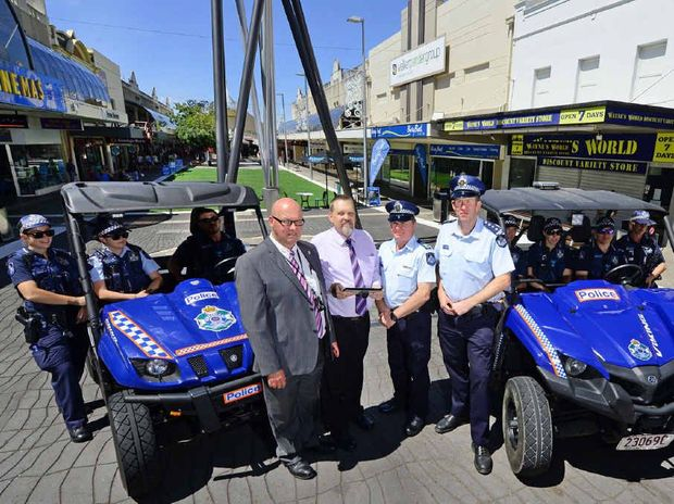IN SAFE HANDS: Queensland Police and Ipswich City Council are working together to reduce crime in Ipswich Central. Pictured (from left) are Gary Ellacott and Larry Waite from Ipswich City Council and Sergeant Leon Margetts and Acting Inspector Laurie Shevlin.