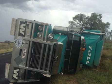 A truck is blown over by extreme winds at Barcaldine.
