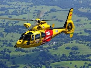 The Westpac Life Saver Rescue Helicopter in action.