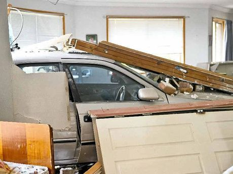 LUCKY ESCAPE: A young mother and son were lucky to escape serious injury after a car ploughed into a Harlaxton unit.