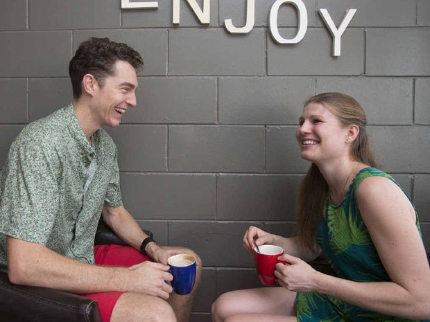 RELAXING: Cameron Pilley and his partner, Line Hansen, enjoy a coffee while on a break back in Yamba.