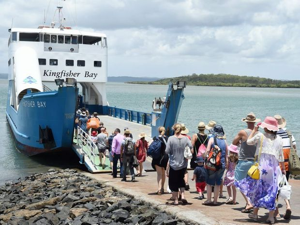 Kingfisher Bay Resort and Village Ferry Service, Fraser Island - boarding the barge. Photo: Valerie Horton / Fraser Coast Chronicle