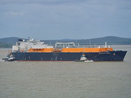 Methane Rita Andrea LNG tanker leaves Gladstone harbour with the first shipment of LNG from Curtis Island.