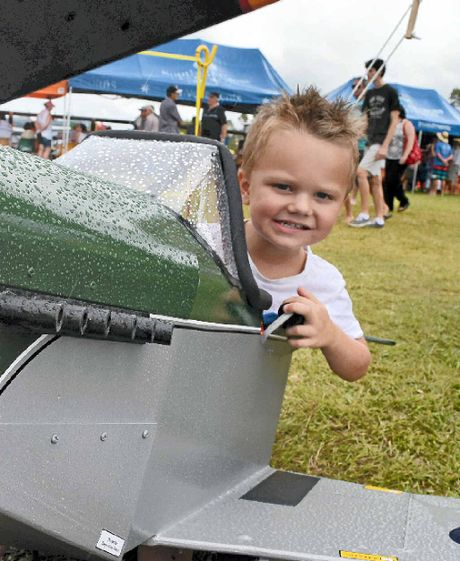 Maverick Masters, 3, from Pottsville, feels the need for speed in a pedal plane at the Evans Head Aerodrome on Saturday.