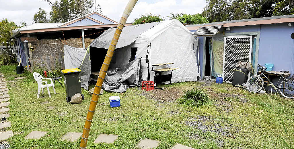The rear of the property at 139 Jonson St, Byron Bay, where council alleges up to 19 occupants were staying.