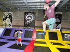 DODGEBALL: Testing out the new trampoline park are (from left) Khai De Kroon and Ricky Moss in action at the Kloud9ine trampoline park.