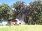 Video of a caravan fire at the grounds of the Red Devils Rugby League Club at Byron Bay, taken this morning.