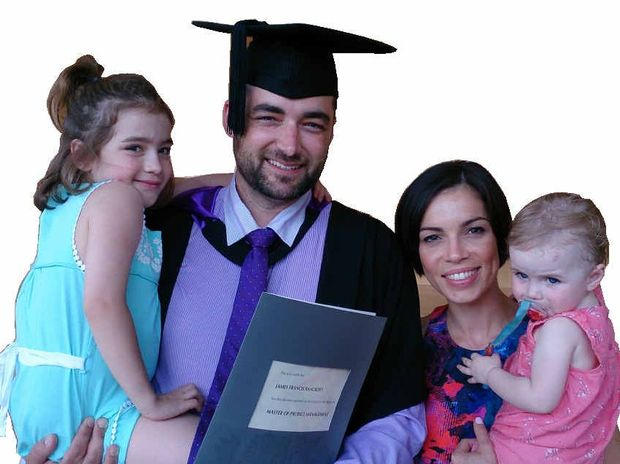 The Bancroft family, with Ava after her transplant at left, celebrates James's Masters graduation.