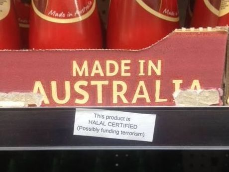 Stickers reportedly posted on Woolworths products.