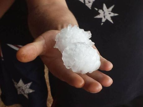 Large hailstones fell near Leyburn during wild storms yesterday afternoon.