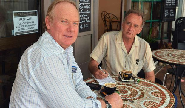 """PRACTICAL PLANS: Shane Paulger talks about """"achievable"""" ideas as he takes a coffee break with reporter Arthur Gorrie at The Brown Jug Cafe."""