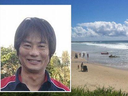 Tadashi Nakahara, inset, was killed by a suspected great white shark at Ballina.