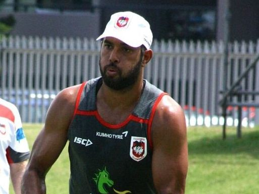 WORKING Hard: Dane Nielsen completes a drill during St George Illawarra Dragons' pre-season training.