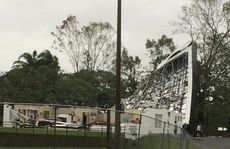 Nerimbera Soccer Club with the roof lifted after Cyclone Marcia. Photo Contributed