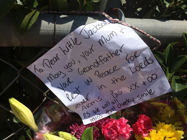 A message left for Jackson, 7, outside a home in Biddeston.