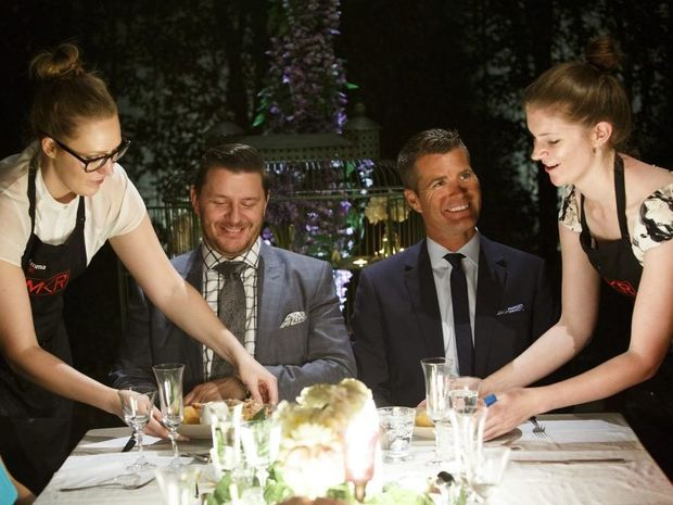 Emma and Jane serve their main course to judges Manu Feildel, left, and Pete Evans.