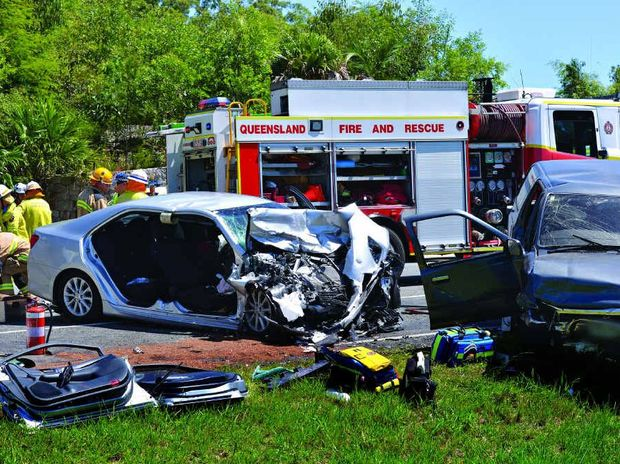 The scene of the crash at Palmview, which has now claimed two lives.