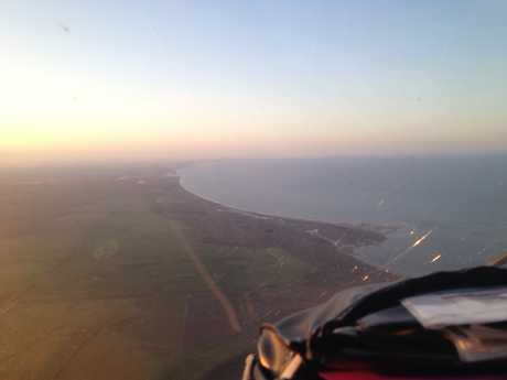 A view from the RACQ CareFlight Rescue helicopter as it travelled to Agnes Waters on Sunday