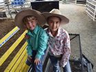 Caydence, 8 and Charlee, 3, Fouracre prepare for the poddy ride in the Young Gun and Top Gun Series. Photo Jenna Johnstone / Morning Bulletin