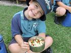 Joshua Harris, 6, eating a healthy lunch of lamb and vegetable pasta.