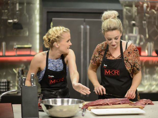My Kitchen Rules contestants Emilie Biggar, left, and Sheri Eddington pictured during their sudden-death elimination cook-off.
