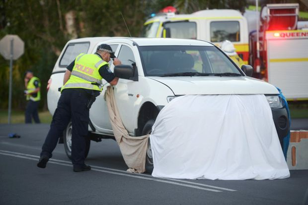 FATAL CRASH: Police and emergency services attend the scene of a fatal crash on Whalley Street in Bargara between a car and a cyclist around 5:30pm.