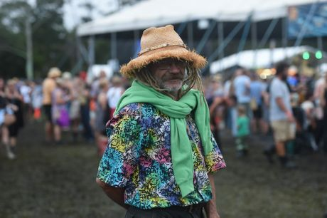 Herb Fitzgerald, of Ballina, sporting his own colourful outfit to Bluesfest 2015 in Tyagarah. Photo Marc Stapelberg / The Northern Star