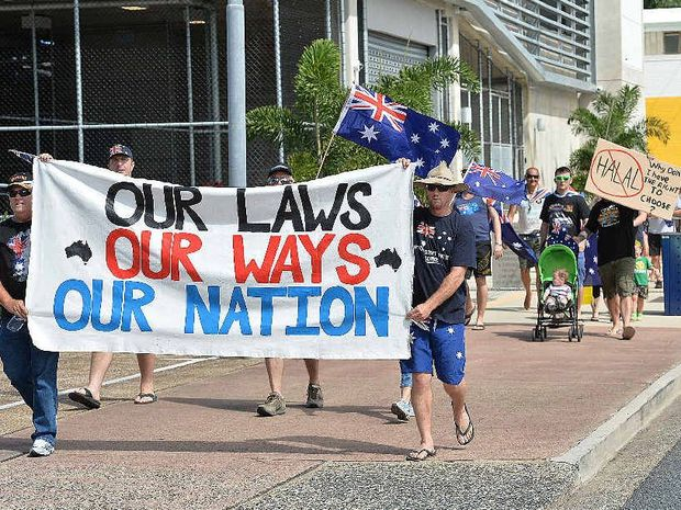 Mackay marchers took part in one of 14 nationwide Reclaim Australia rallies on Saturday that ended outside the office of federal Dawson MP George Christensen.