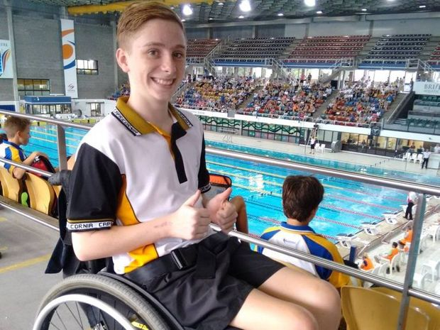 DEFIED THE ODDS: Campbell Miller-Waugh competed in the Queensland Secondary School State Titles in all five strokes just 10 months after a serious spinal chord injury.