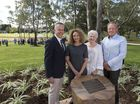 Family members of Garnet Lehmann (from left) son Brett Lehmann, daughter Marea Tynan, wife Rosemary Lehmann and son Grant Lehmann with a plaque bearing Garnet's name and story at the official opening of Garnet Lehmann Park detention basin.