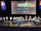 The Maryborough RSL Pipe Band and the Maryborough Excelsior Band share the stage for the opening song at the Anzac Centenary Concert at the Brolga Theatre.