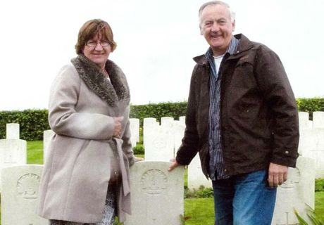 Sue and Glenn Churchill at the grave site.