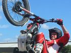 Eljay Driessens popping a wheelie.
