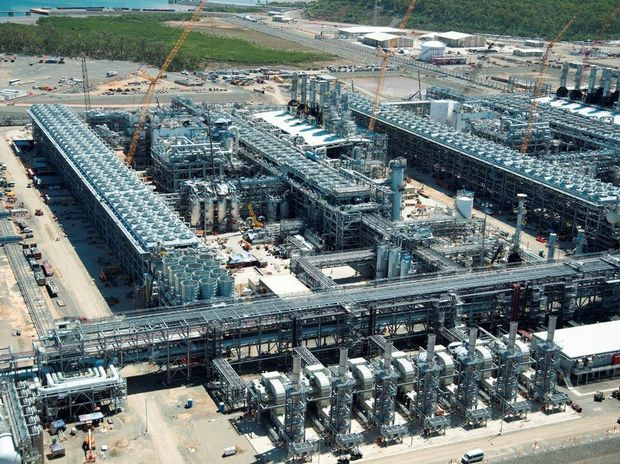 The seven gas turbine generators pictured in the foreground of photo, on APLNG. Photo Contributed