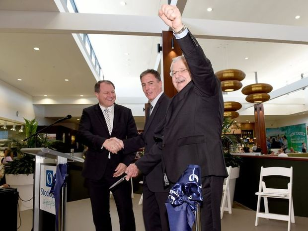 The official opening of Stockland Shopping Centre, Hervey Bay. CEO Mark Steinert, Mayor Gerard O'Connell and Stockland commercial property CEO John Schroder cut the ribbon.