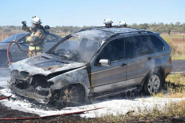 CLOSE CALL: A mother and her child escaped a burning car near Dalby this morning.