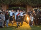George Vlastaras leads the Grafton District Services Club Pipe Band into the Grafton Anzac dawn service Photo Adam Hourigan / The Daily Examiner