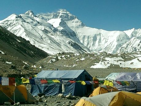 Photo looking towards Mt Everest from Northside Base Camp in Tibet.